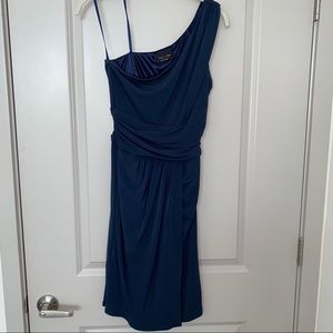 Max & Cleo Navy One Shoulder Cocktail Dress Sz. 4